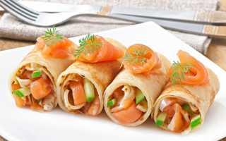 Блинчики на закуску с копченым лососем – пошаговый рецепт с фото. Как приготовить
