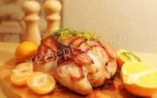 Запеченная курица с хлебом и беконом – пошаговый рецепт с фото – для духовки