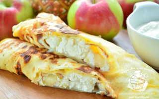Блинчики с творогом, печеным яблоком и хурмой – пошаговый рецепт с фото. Как приготовить