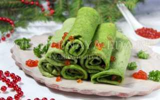 Блинчики с шпинатом и начинкой из сёмги и икры – пошаговый рецепт с фото. Как приготовить