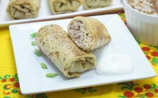 Блинчики, фаршированные мясом, белыми грибами и рисом – пошаговый рецепт с фото. Как приготовить