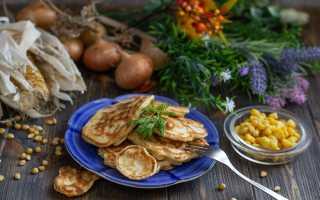 Оладьи с консервированой кукурузкой и зеленым луком – пошаговый рецепт с фото. Как приготовить