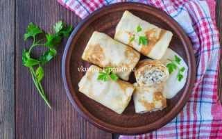 Фаршированные блины с курицей и рисом – пошаговый рецепт с фото. Как приготовить